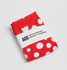 Yayoi Kusama Sock: Red / White Dots