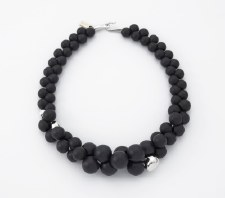 Two A: Black Resin Sphere Short Necklace