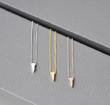 Necklace - Long Tri Polished Silver
