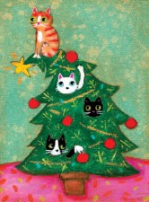 Cats in Christmas Tree - Holiday Cards