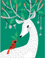 Deer and Cardinal - Holiday Cards