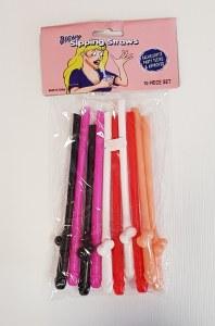 10Pk Coloured Willy Straws