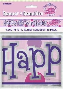 1st Birthday Girl Banner