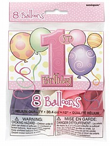 First Birthday Pink Balloons