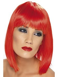 Neon Red Glam Wig