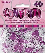 40th Pink Confetti