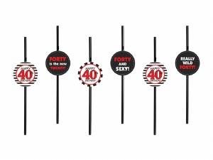 40th Birthday Straws