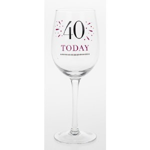 40th Wine Glass