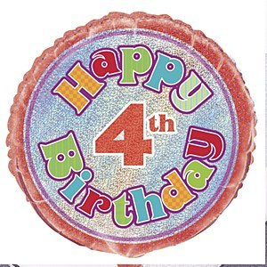4th Birthday Foil Balloon