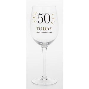 50th Wine Glass