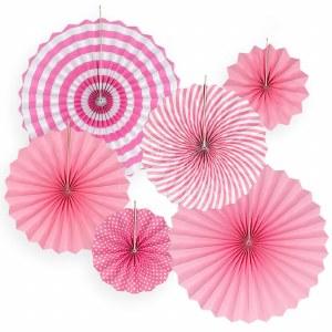 6Pk Pink Paper Fans