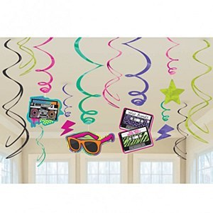 80s Party Swirl Decorations