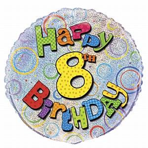 8th Birthday Foil Balloon