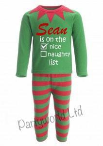 Personalised Elf Pyjamas