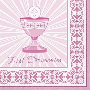 Pink Cross Communion Napkins