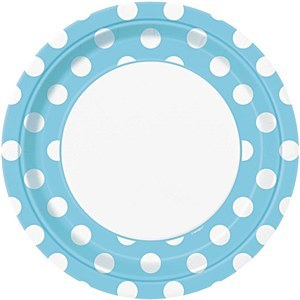 Baby Blue Dots Paper Plates