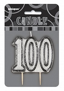 Black 100th Birthday Candle
