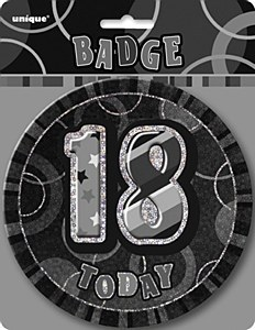 Black 18th Birthday Badge