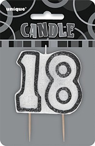 Black 18th Birthday Candle