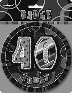 Black 40th Birthday Badge