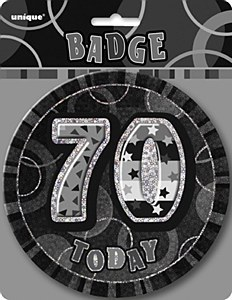 Black 70th Birthday Badge