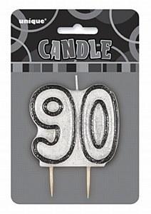 Black 90th Birthday Candle