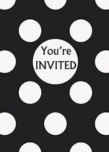 Black Dots Party Invitations