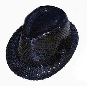 Black Sequin Gangster Hat