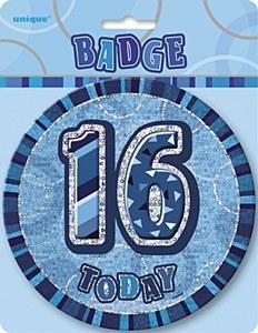 Blue 16th Birthday Badge