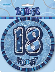 Blue 18th Birthday Badge