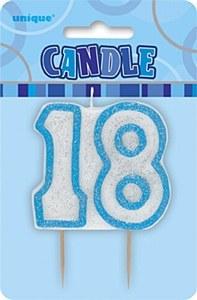Blue 18th Birthday Candle