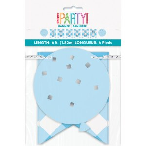 Blue Gingham 1st Party Banner