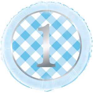 Blue Gingham 1st Foil Balloon