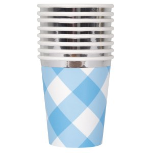 Blue Gingham 1st Party Cups