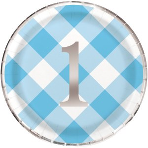 Blue Gingham 1st Party Plate