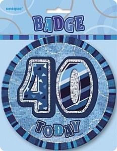 Blue 40th Birthday Badge