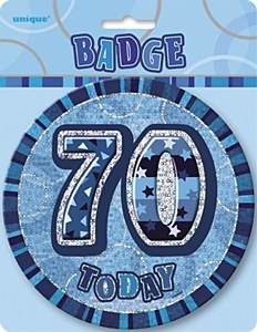 Blue 70th Birthday Badge