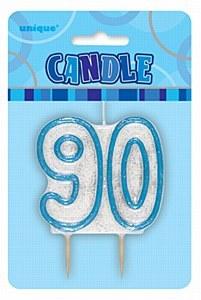 Blue 90th Birthday Candle
