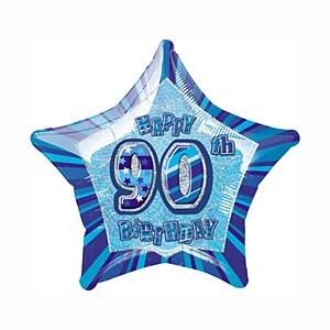 Blue 90th Star Foil Balloon