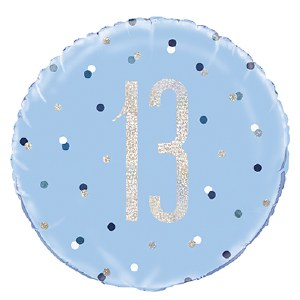 Blue Dot Glitz 13th Balloon