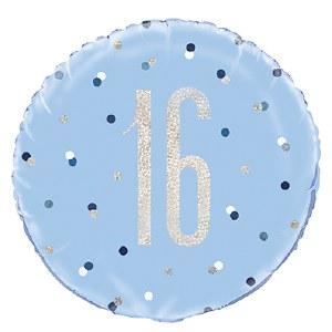 Blue Dot Glitz 16th Balloon