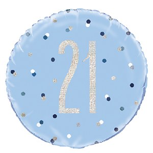 Blue Dot Glitz 21st Balloon