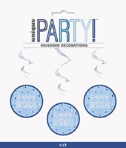 Blue Dot Glitz Birthday Swirls