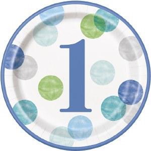Blue Dots 1st Birthday Plates