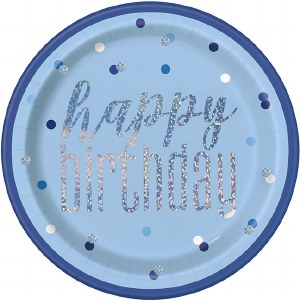 Blue Dots Birthday Plates