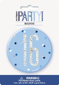 Blue Glitz 16th Badge