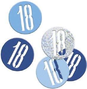Blue Glitz 18th Confetti