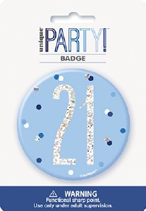Blue Glitz 21st Badge