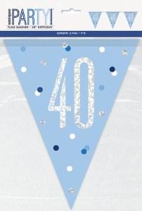 Blue Glitz 40th Bunting