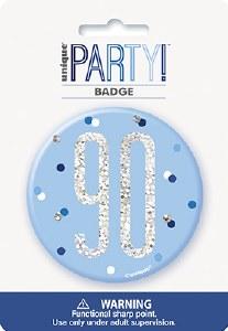 Blue Glitz 90th Badge